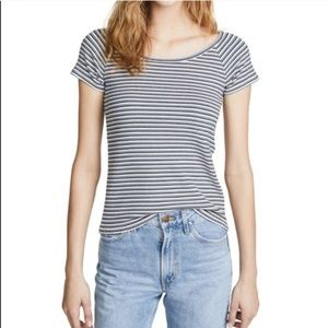 Madewell Canal Striped Ribbed T-shirt Blue White